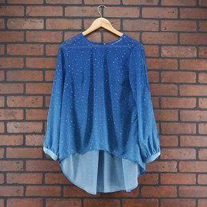 eSHAKTI Ombre Star Print High Low Blouse Size XS